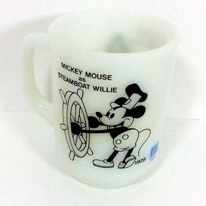 VTG Disney Milk Glass Mug Steamboat Willie
